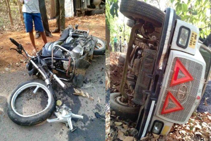 ऑटो की टक्कर से बाईक सवार आ गया ट्रेलर के नीचे, मौके पर ही मौत