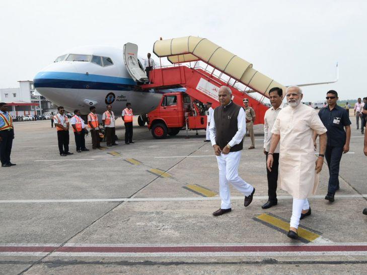 पीएम मोदी ने असम के बाढ़ प्रभावित इलाकों का किया हवाई सर्वे